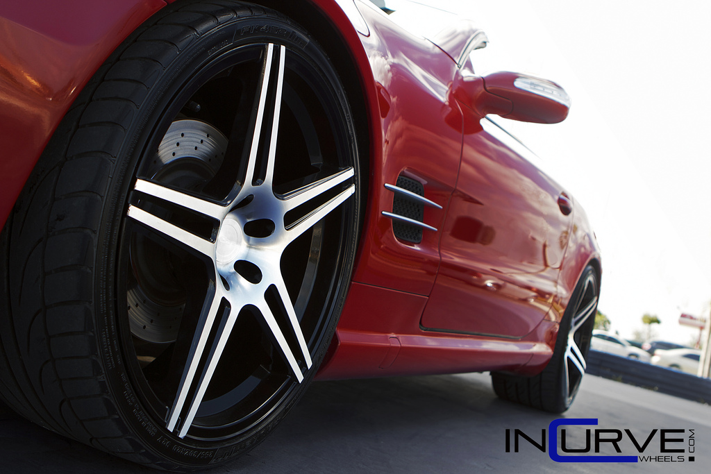 Incurve Wheels IC-S5 Machined Black on Black Mercedes Benz SL500