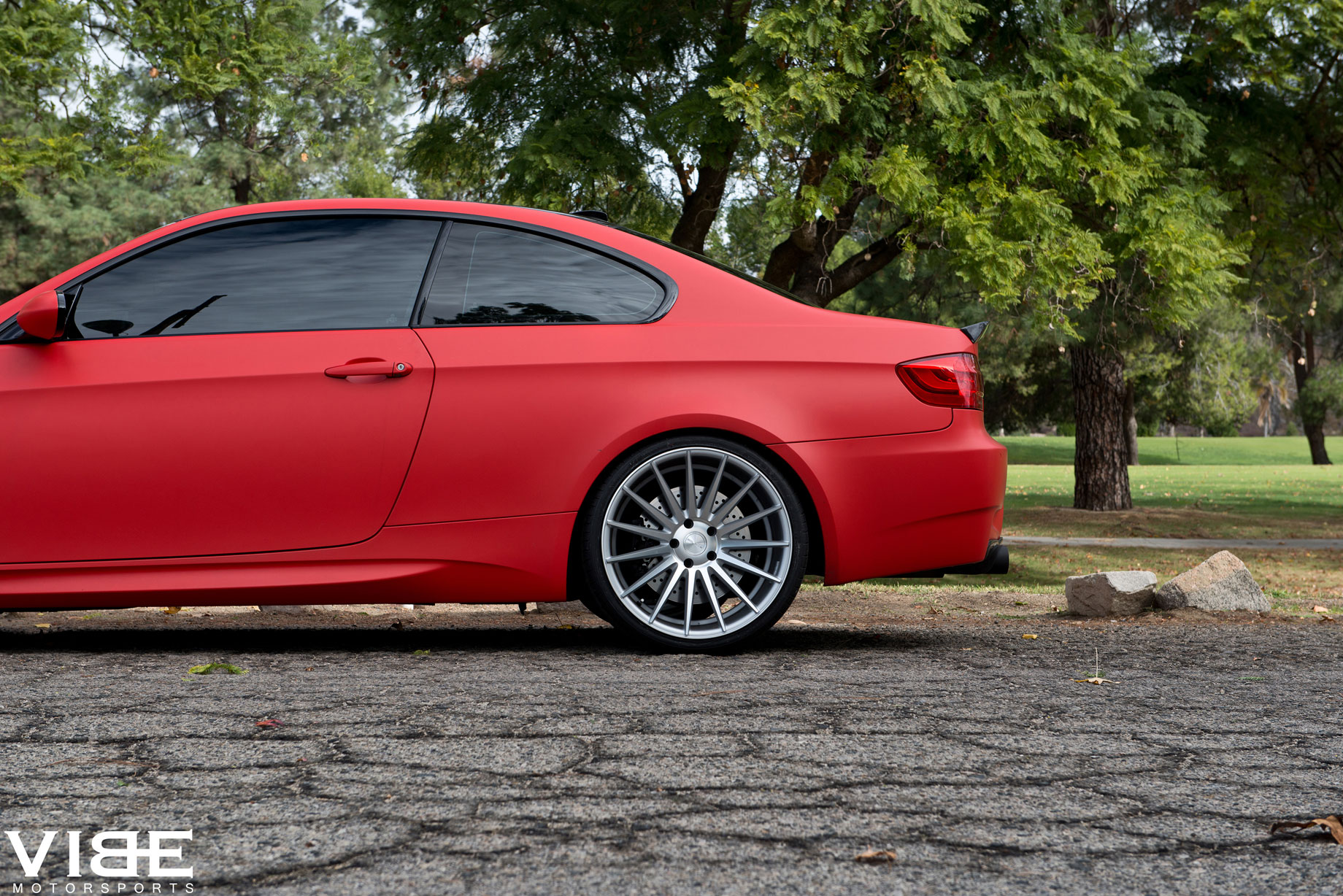Stance Wheels SC-7 Silver on Red BMW M3