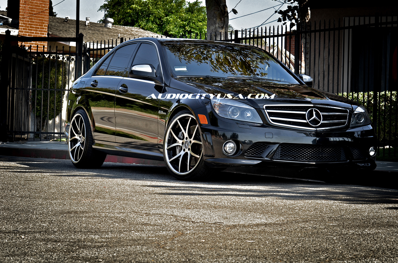 Giovanna Monza 20' Machined Black on Mercedes Benz C63 AMG