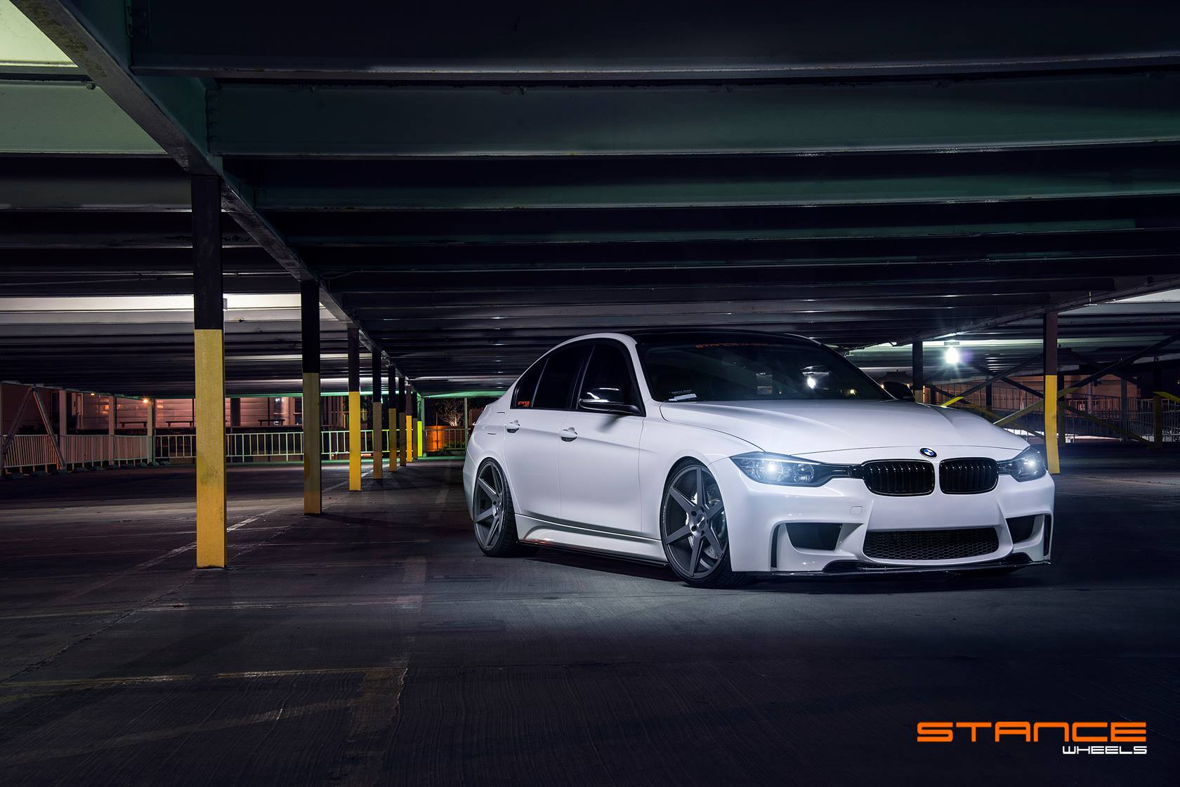 Stance Wheels SC-6 Slate Grey on White BMW F30
