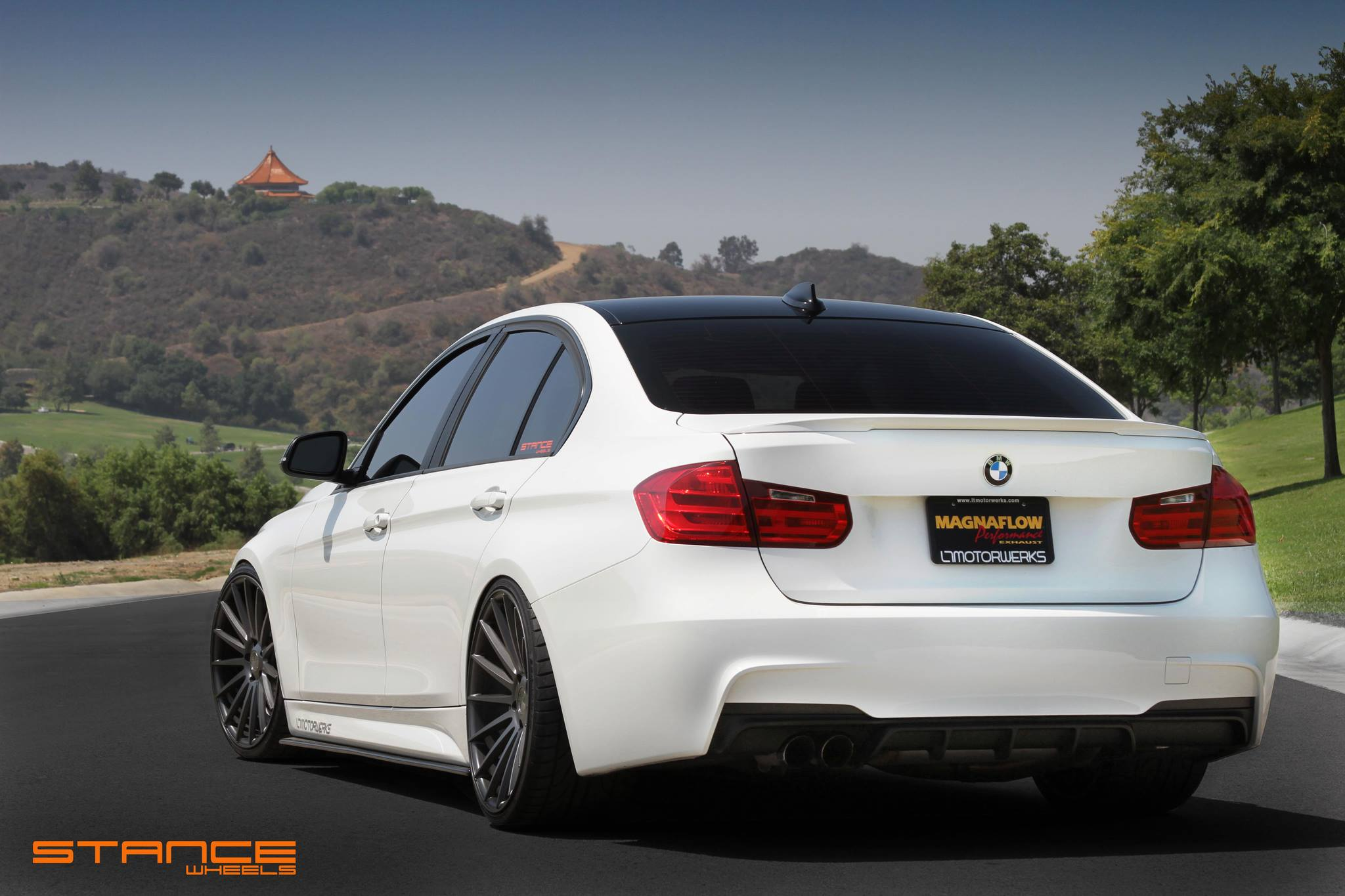 Stance Wheels SC-7 Slate Grey on White BMW F30